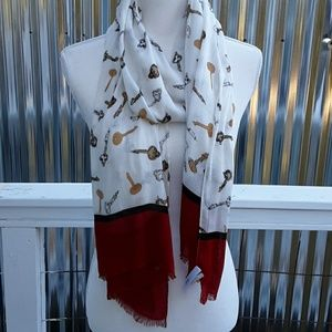 Talbots Scarf, off white and  Red with Keys